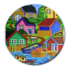 Three Boats & A Fish Table 8  Mouse Pad (round)