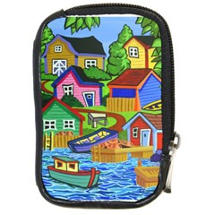Three Boats & A Fish Table Compact Camera Leather Case