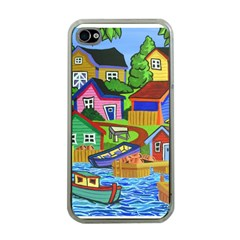 Three Boats & A Fish Table Apple iPhone 4 Case (Clear)