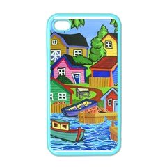 Three Boats & A Fish Table Apple iPhone 4 Case (Color)