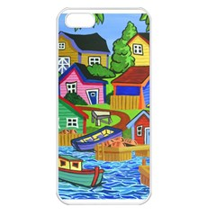 Three Boats & A Fish Table Apple iPhone 5 Seamless Case (White)