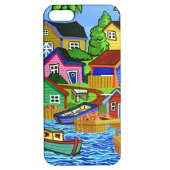 Three Boats & A Fish Table Apple iPhone 5 Hardshell Case with Stand