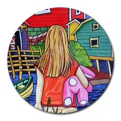 Blue Door And Stuffed Bunny 8  Mouse Pad (Round)