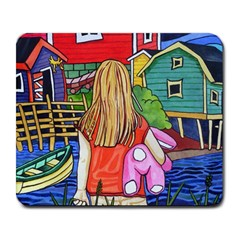 Blue Door And Stuffed Bunny Large Mouse Pad (Rectangle)