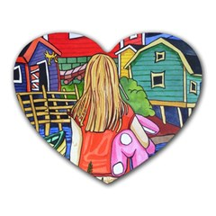 Blue Door And Stuffed Bunny Mouse Pad (heart)