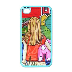 Blue Door And Stuffed Bunny Apple Iphone 4 Case (color)