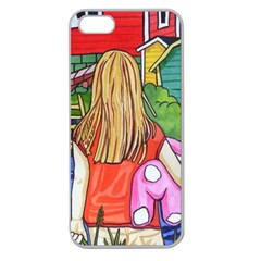 Blue Door And Stuffed Bunny Apple Seamless iPhone 5 Case (Clear)