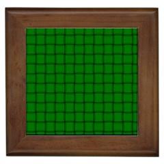 Green Weave Framed Ceramic Tile