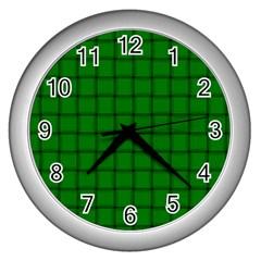Green Weave Wall Clock (Silver)