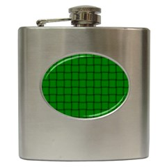 Green Weave Hip Flask