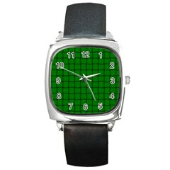 Green Weave Square Leather Watch