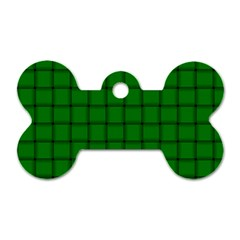 Green Weave Dog Tag Bone (one Sided)