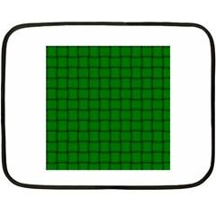 Green Weave Mini Fleece Blanket (two Sided)