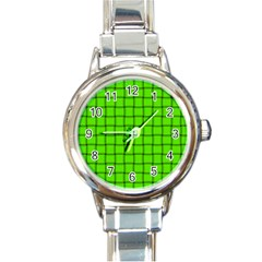 Bright Green Weave Round Italian Charm Watch