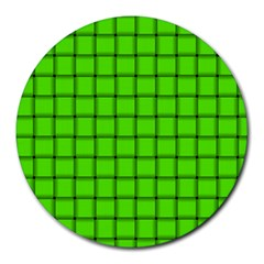 Bright Green Weave 8  Mouse Pad (Round)