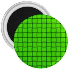 Bright Green Weave 3  Button Magnet