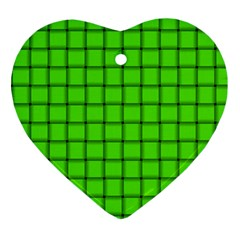 Bright Green Weave Heart Ornament