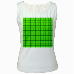 Bright Green Weave Womens  Tank Top (White)