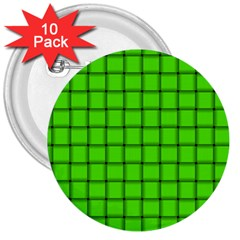 Bright Green Weave 3  Button (10 pack)