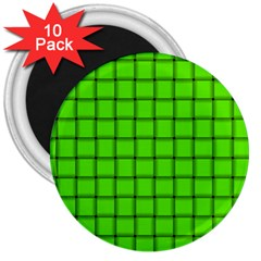 Bright Green Weave 3  Button Magnet (10 Pack)
