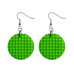 Bright Green Weave Mini Button Earrings