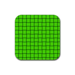 Bright Green Weave Drink Coasters 4 Pack (square)