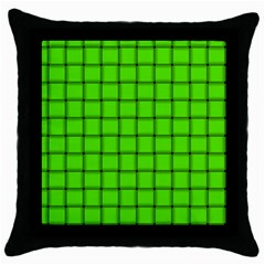 Bright Green Weave Black Throw Pillow Case