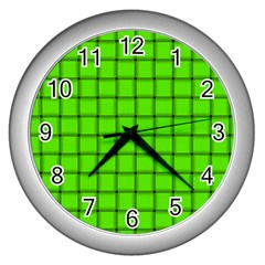Bright Green Weave Wall Clock (Silver)