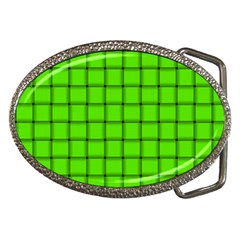 Bright Green Weave Belt Buckle (Oval)
