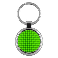 Bright Green Weave Key Chain (round)