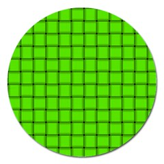 Bright Green Weave Magnet 5  (round)