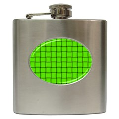 Bright Green Weave Hip Flask