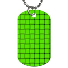 Bright Green Weave Dog Tag (Two Sided)