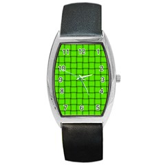Bright Green Weave Tonneau Leather Watch
