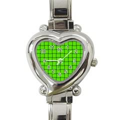 Bright Green Weave Heart Italian Charm Watch