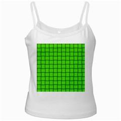 Bright Green Weave White Spaghetti Top