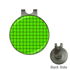 Bright Green Weave Hat Clip With Golf Ball Marker