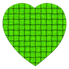 Bright Green Weave Jigsaw Puzzle (heart)