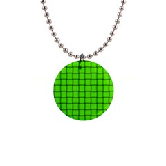 Bright Green Weave Button Necklace
