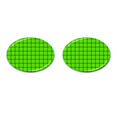 Bright Green Weave Cufflinks (Oval)