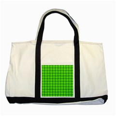 Bright Green Weave Two Toned Tote Bag