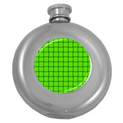 Bright Green Weave Hip Flask (Round)