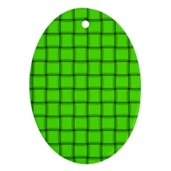 Bright Green Weave Oval Ornament (Two Sides)