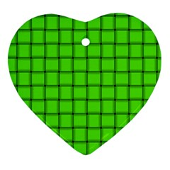 Bright Green Weave Heart Ornament (Two Sides)