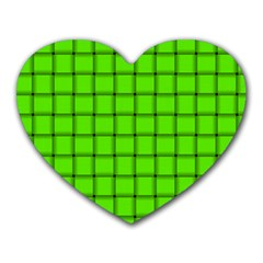 Bright Green Weave Mouse Pad (Heart)