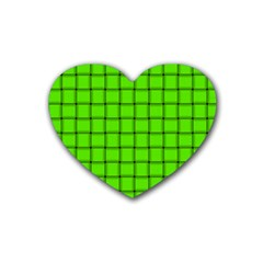 Bright Green Weave Drink Coasters 4 Pack (Heart)