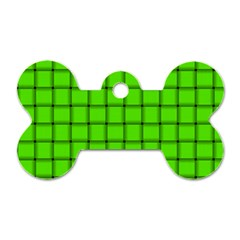 Bright Green Weave Dog Tag Bone (Two Sided)