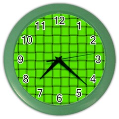 Bright Green Weave Wall Clock (Color)