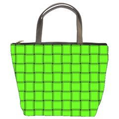 Bright Green Weave Bucket Bag