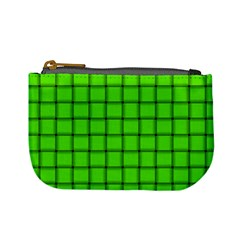 Bright Green Weave Coin Change Purse